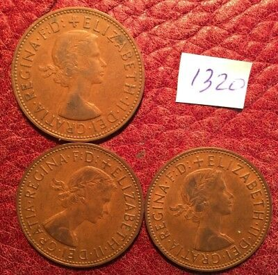 Date Run 1961-63 Of 3 Elizabeth Ii Pennies  - Job Lot 1320