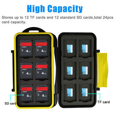 12 SD + 12Micro SD Memory Cards Case Holder Hard Storage Anti-shock Waterproof