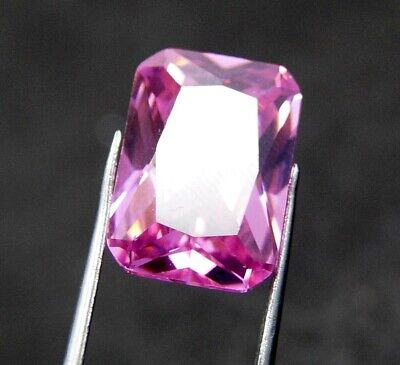 GGL Certified 12.15  Ct Emerald Cut Transparent Natural Pink Sapphire Gemstone