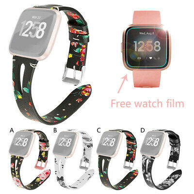 Floral Printed Leather Wrist Watch Strap Band & Watch Film For Fitbit versa Lite