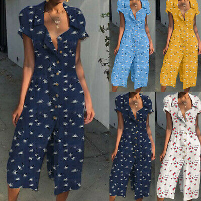 UK Womens Holiday Playsuits Ladies Jumpsuits Beach Summer Dress Size