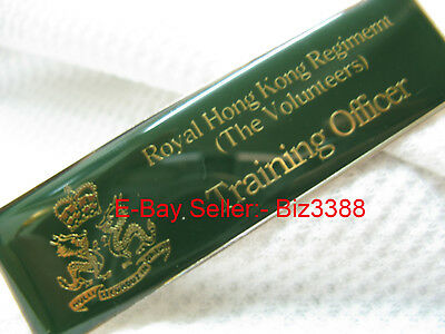 "British Colonial Era Royal Hong Kong Regt. (V) ""Training Officer"" Uniform Plate"