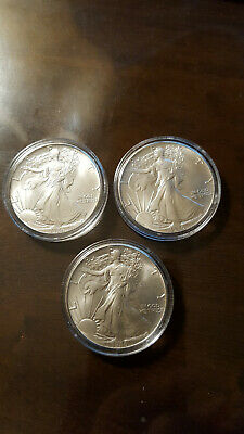 ESTATE FIND - 3 - 1986 American Silver Eagles $1 NICE CONDITION