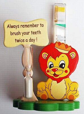 Lion Toothbrush Holder with Toothbrush & Timer - Italian - Handcrafted