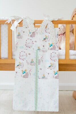White & Green Peter Rabbit Nappy Stacker/Toy Storage for Girl or Boy.