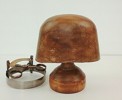 Delightful Vintage Wooden Hat Block On Stand, Rare Child's Size, Displays Well.