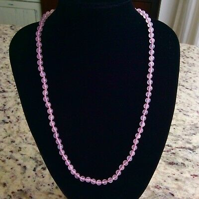 "14K Gold Pink Agate 6Mm Bead 24"" Dweck Necklace Estate"