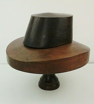 Vintage Wooden Hat Block/Form Trilby Shape in 3 Sections, Nice Patina.