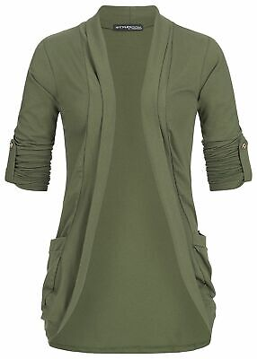 31/% OFF B18047325 Damen Violet Jacke Turn-Up Cardigan 2 Taschen military grün