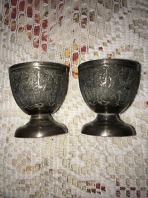 ANTIQUE ISLAMIC PERSIAN Stamped SILVER Egg Cups GUARDS ENGRAVING