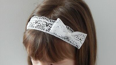 Baptism hair band lace bow headband for christening wedding UK Handmade by Fdh