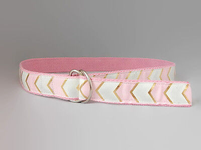 Golden belt for toddlers, teens pink D-ring arrow belt UK handmade Belt-issimo