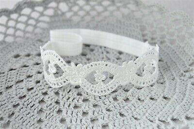 Newborn headband baby hair band for baptism, christening, lace tiara Handmade UK
