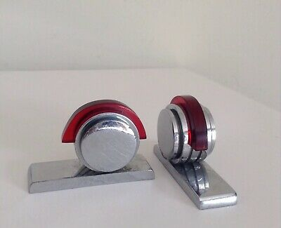 Gorgeous Original Art Deco Stepped Chrome & Ruby Catalin 'Feet'? Use as Weights?