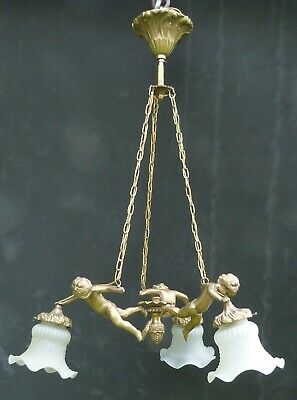French Antique Lights Chandelier Gilt Bronze with 3 Putti Arms Cherub Angel