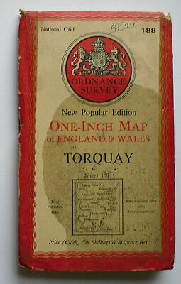1946 Old OS Ordnance Survey New Popular Edition One-Inch CLOTH Map 188 Torquay