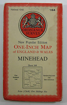 1946 Old OS Ordnance Survey New Popular Edition One Inch CLOTH Map 164 Minehead