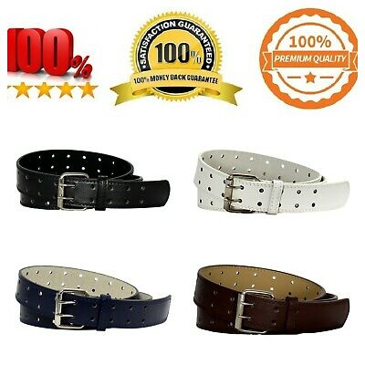 Double Prong 2/Row Full Grain Leather Dress Belt For Men - Available in 4 Colors