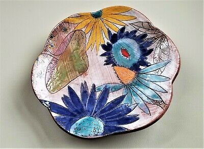 Vintage Art pottery Decor Dish Colorful Flowers Very Unique Display by MARTIN