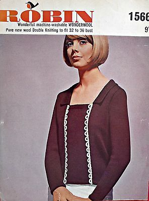 VINTAGE Robin 1566 1960s Knitting Pattern- Lady's JUMPER with BRAID TRIM- MOD
