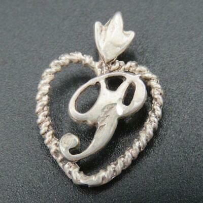 """Sterling Silver Dainty Letter """"P"""" Initial Heart Design Pendant"""