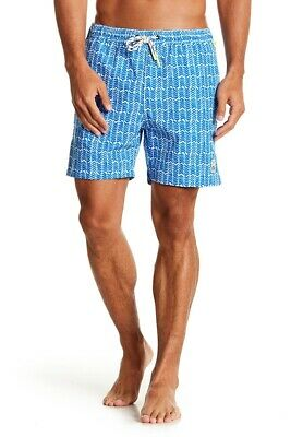 216ac695c2 Psycho Bunny Mens Blue Daphne Herringbone Print Swim Trunks L XL