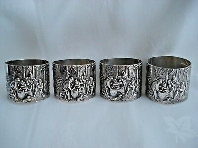 Set of 4 Danish Silver Plate Napkin Rings Holders  JThS Steffensen Silver Plated