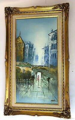 "Vintage 29"" Medlly Medux Signed City Street Cityscape Oil on Canvas Painting"
