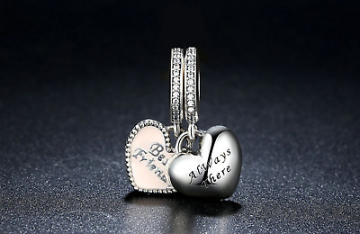 Pandora Silver Best Friend Always there Duo Twin Heart Pendant Charm +Free Pouch