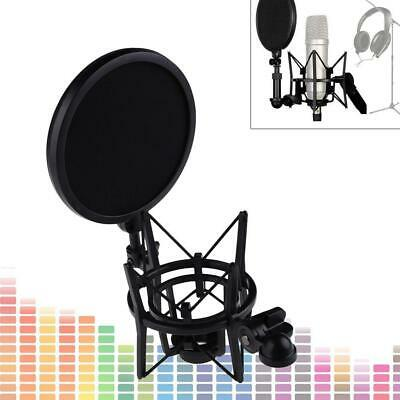 HOT Microphone Shock Mount Stand Holder with Integrated Pop Filter Black Kit GL