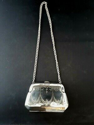 Very Pretty Edwardian Style Antique Solid Siver Evening Purse Halmarked 1918