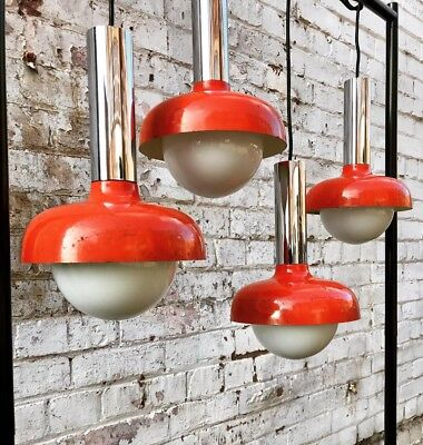 Vtg Mid Century Atomic Industrial Pendant Lights Orange Enamel Opaline Globe 50s