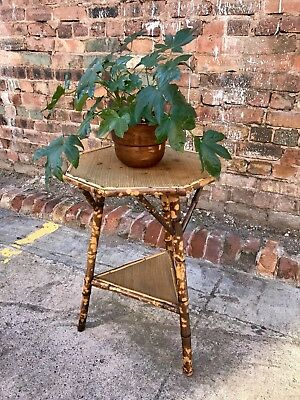 Vintage Mid Century Two Tiered Octagonal Bamboo Side Table Retro Bohemian