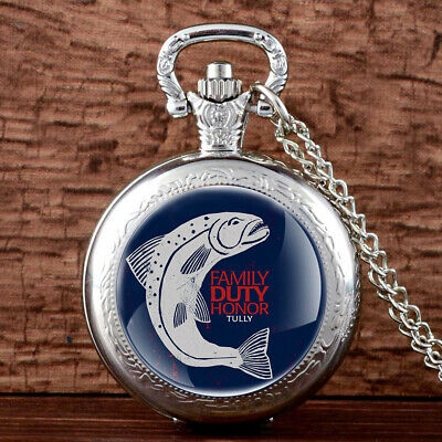 Antique Game of Thrones House Tully Vintage Pocket Watch Chain Necklace Quartz