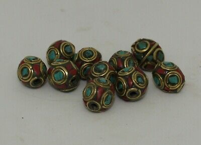 10 X Post Medieval Silver Gilt & Enamel Beads - No Reserve 32
