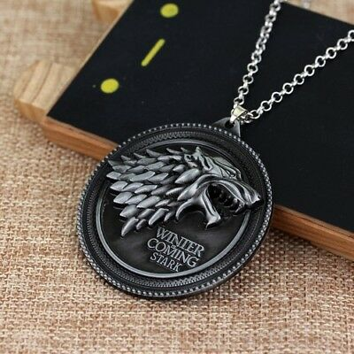 Game of Thrones Necklace House Stark Wolf Logo Metal Pendant Winter Is Coming