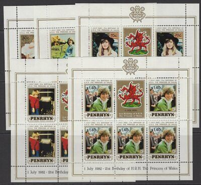 PENRHYN ISLAND SG250/4 1982 21st BIRTHDAY OF PRINCESS DIANA SHEETLETS MNH