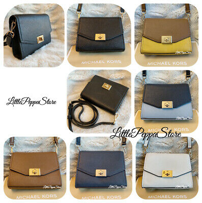 6385dba68fd1 MICHAEL KORS HAYES Small Leather Clutch Crossbody Bag in Various ...