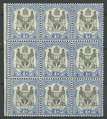 (647)   Brit Central Africa 1897 1d  9er Block, postfrisch, block of 9, mint nh
