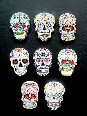 SUGAR SKULL BUTTONS SET OF 8 WOODEN WITH 2 HOLES