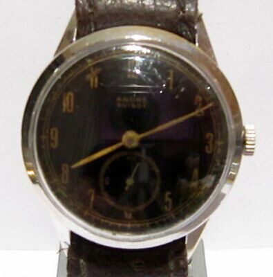 "Art Deco Vintage Rare Ww2 Era Sub Second Men's Swiss Watch ""Ancre Suisse"" # 192"