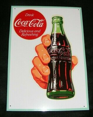COCA COLA SIGN Vintage DECAL BOTTLE IN HAND APPLIED TO NEW METAL NICE!