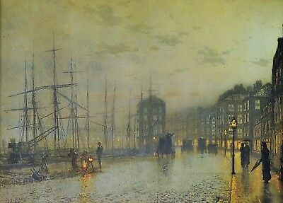 JOHN ATKINSON GRIMSHAW PAINTINGS FIGURES MOONLIT LANE RAIN ART PRINT 1610OM