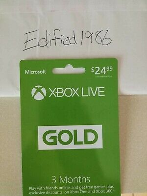 Microsoft Xbox Live Subscription 3 Month Gold Membership Card New Email delivery