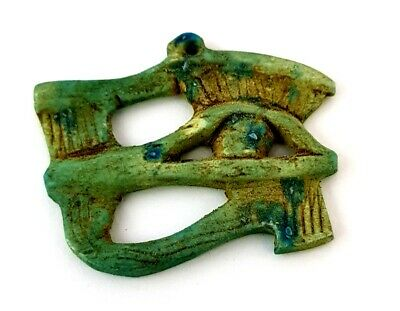 Eye Of Horus Wadjet Egyptian Antique Ra God Amulet Ancient Faience Talisman Rare