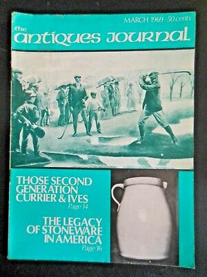 Antiques Journal Magazin 1969 Currier & Ives American Stoneware Jugs Barbed Wire