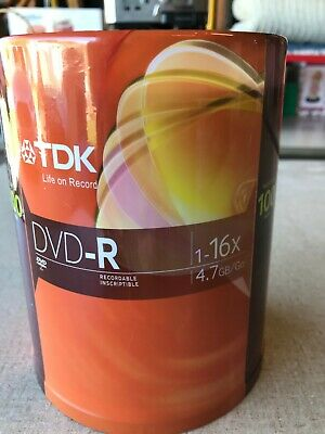 TDK DVD-R 100 Pack Spindle 16x 4.7GB Recordable Blank Media Disks NEW SEALED