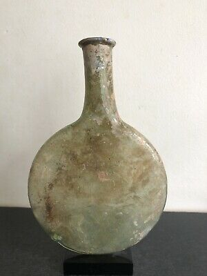 Ancient Roman Green Glass Pilgrim Flask 3rd Century A.D. Provenance