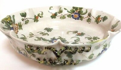 """Italian pottery hand painted spiral handle bowl  11"""""""