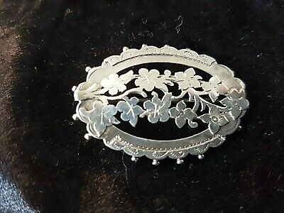 "Antique English solid silver Victorian pierced ""IVY"" pin brooch hallmarked 1890"